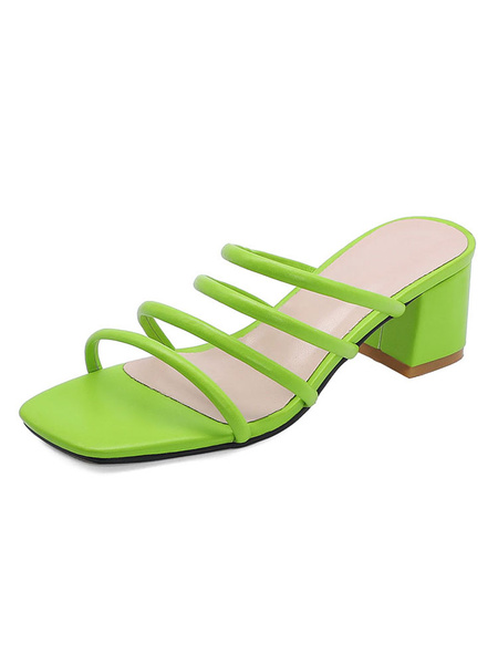 Milanoo Green Block Heel Sandals Womens Open Toe Strappy Plus Size Block Sandal Slippers