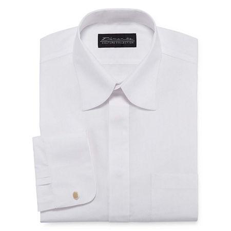 Damante Modern Mens Spread Collar Long Sleeve Dress Shirt, 16 34-35, White