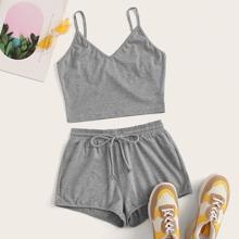Crop Cami Top & Drawstring Waist Shorts