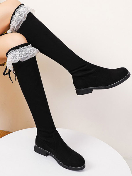 Milanoo Lolita Boots Flat Micro Suede Upper Round Toe Lolita Footwear