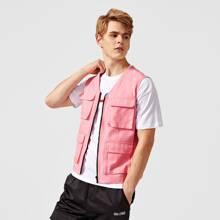 Men Zipper Front Flap Pocket Jacket
