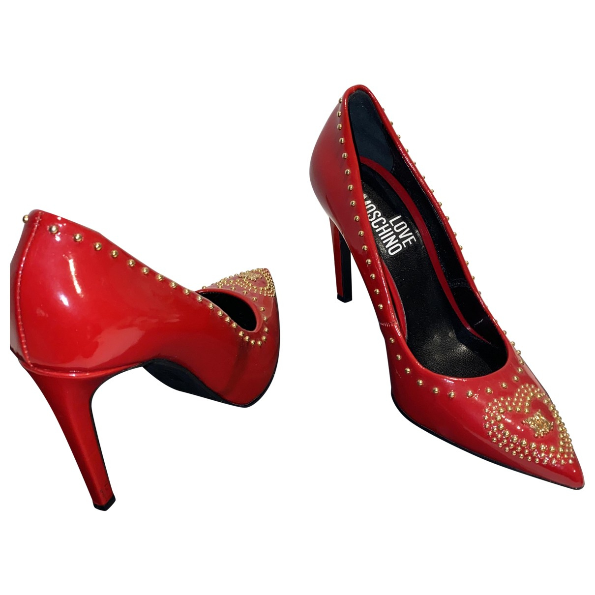 Moschino Love N Red Patent leather Heels for Women 39.5 EU