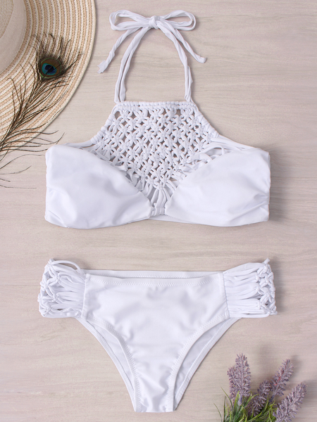 Yoins White Halter Lace-up Design Hollow-out Bikini