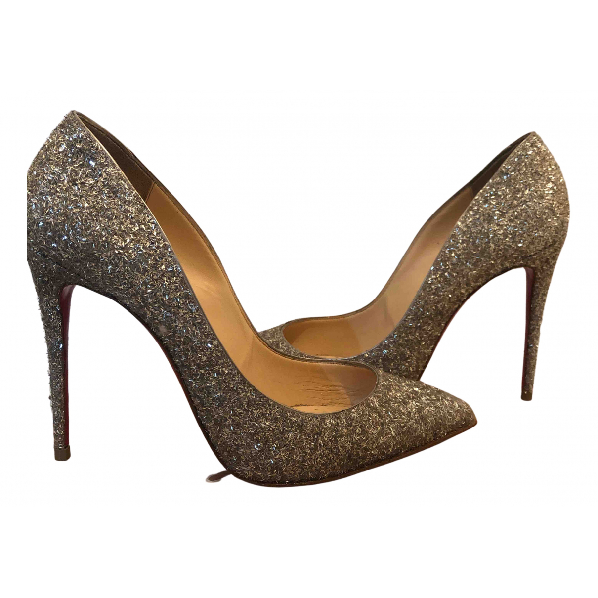Christian Louboutin Pigalle Pumps in  Silber Mit Pailletten