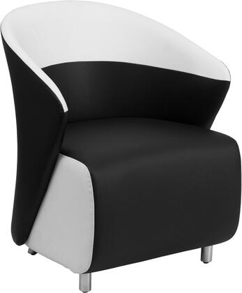 ZB-7-GG Lounge Chair with Curved Barrel Back  Contemporary Style  Stainless Steel Feet  Floor Protector Glides and LeatherSoft Upholstery in Black