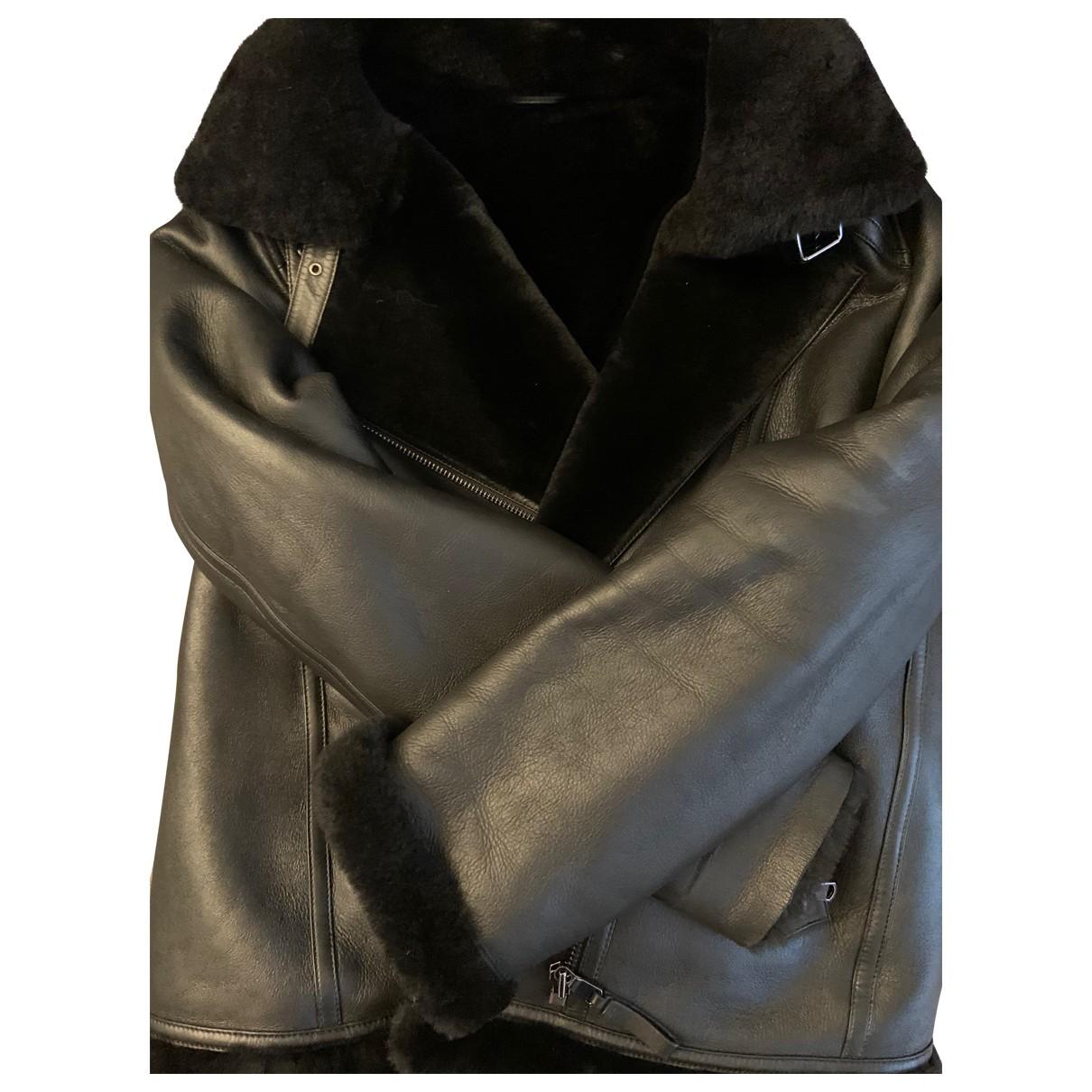 Zapa - Manteau   pour femme en cuir - noir