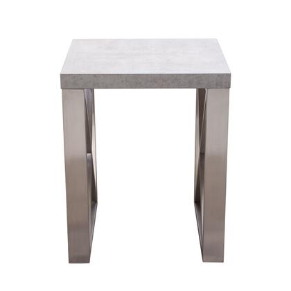Carrera Collection CARRERAETMA2C End Table with 3D Marble Finish with Brushed Stainless-Steel Legs in White and