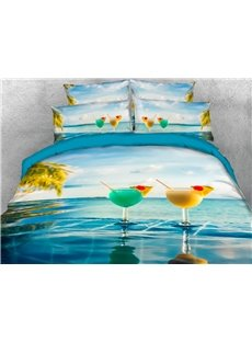 Two Glasses of Juice off The Coast of Hawaii 3D Printed 4-Piece Polyester Bedding Sets/Duvet Covers
