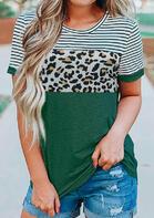 Striped Leopard T-Shirt Tee - Green