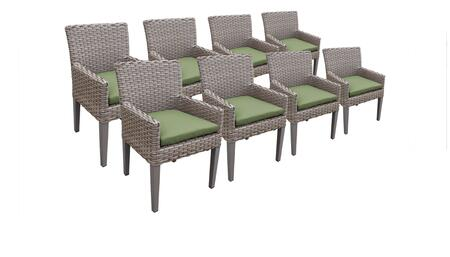 Florence Collection FLORENCE-TKC297b-DC-4x-C-CILANTRO 8 Dining Chairs With Arms - Grey and Cilantro