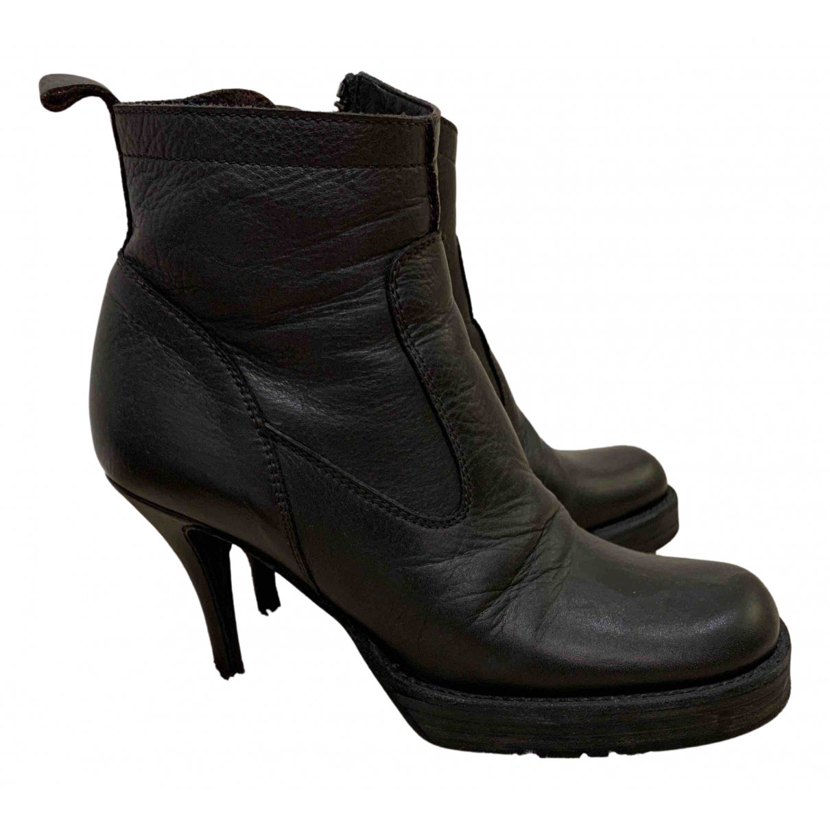 Rick Owens N Black Leather Ankle boots for Women 37 EU