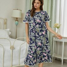 Tropical Print Lace Trim Nightdress