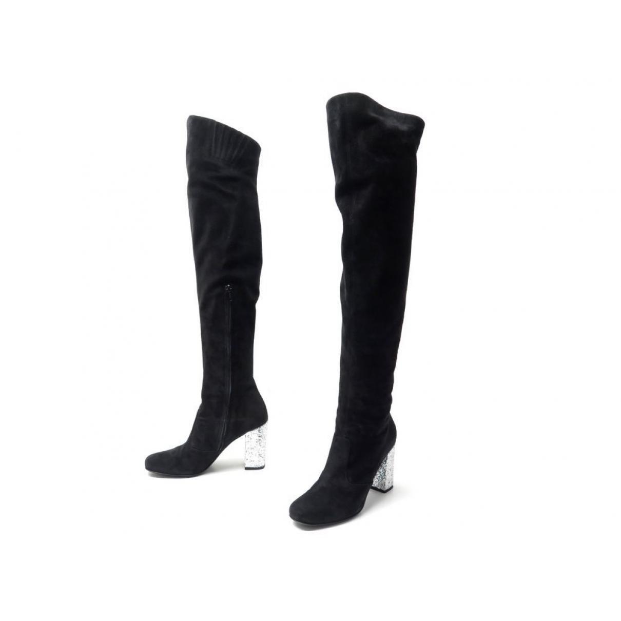 Saint Laurent \N Black Velvet Boots for Women 37 EU