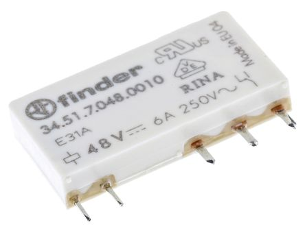 Finder , 48V dc Coil Non-Latching Relay SPDT, 6A Switching Current PCB Mount Single Pole