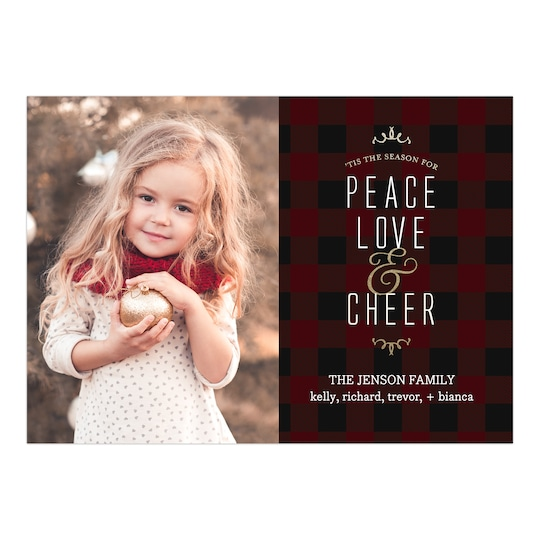20 Pack of Gartner Studios® Personalized Peace Love & Cheer Christmas Flat Photo Card in Espresso | 5