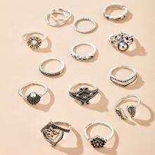 14 Stuecke Retro Ring mit hohlem Design