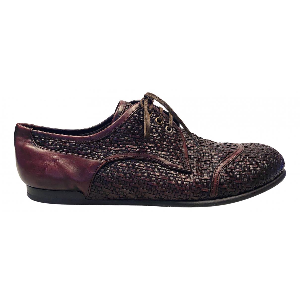Dolce & Gabbana N Burgundy Leather Lace ups for Men 10 UK