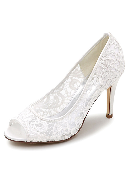 Milanoo Lace Wedding Shoes Peep High Heel Bridal Shoes