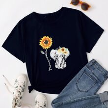 Plus Sunflower And Cartoon Graphic Tee