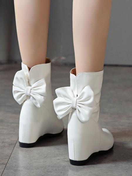 Milanoo Lolita Boots Bows Round Toe Hidden Heel Lolita Booties