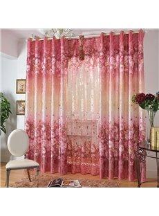 Romantic Pink Roses Print Blackout Decorative Grommet Top Curtain