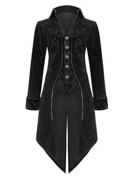Milanoo Men Vintage Clothing Stand Collar Aristocrat Style Gothic Tuxedo Blazer Coat Halloween