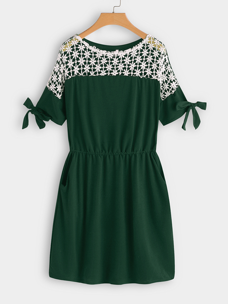 Yoins Green Lace Insert Round Neck Short Sleeves Dress