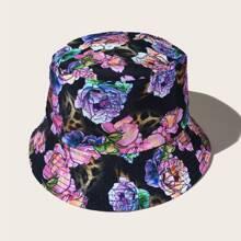 Flower Pattern Reversible Bucket Hat