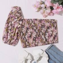 Top mit einer Schulter frei, Raffung und Blumen Muster