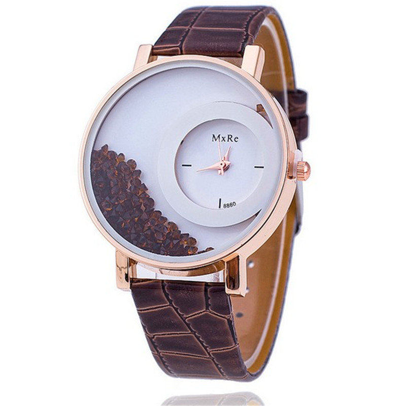 Casual Crystal Women Watch Leather Waterproof Watch Double Layer Quartz Watch