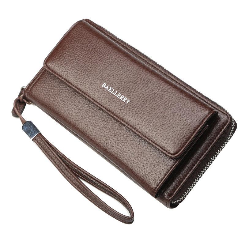 Men PU Leather Solid Wallet Purse Business Wallet Phone Bag