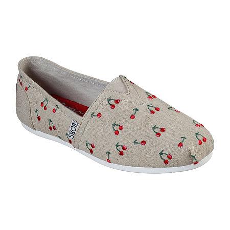 Skechers Bobs Womens Plush Cherry Pick Slip-On Shoe, 8 Medium, White