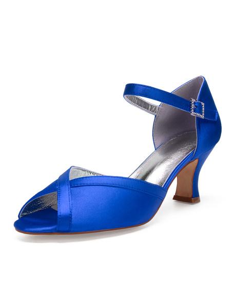 Milanoo Zapatos de novia de seda y saten 6.5cm Zapatos de Fiesta Zapatos blanco  de tacon expandido Zapatos de boda de puntera abierta con pedreria