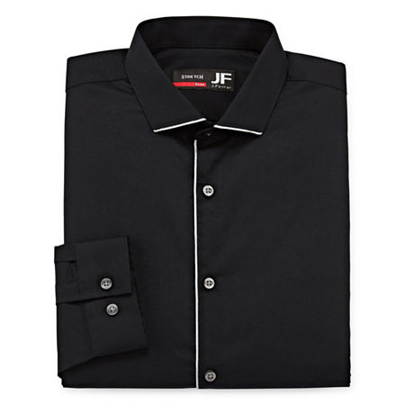 JF J.Ferrar Easy Care Mens Point Collar Long Sleeve Stretch Dress Shirt, 16-16.5 34-35, Black