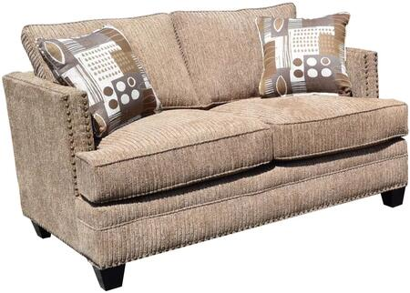 Milky Way Collection GDN-CA-71 60 Loveseat with Removable Cushions  Made In USA  Track Arms  Nail Head Accents  Solid Pine Wood Construction and