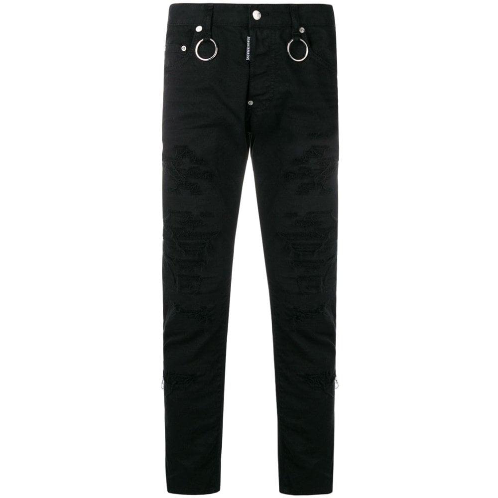 Dsquared2 Distressed Slim Jeans Black Colour: BLACK, Size: 34 30