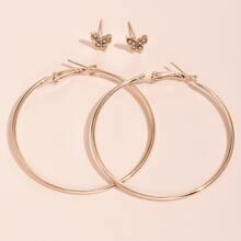 2pairs Rhinestone Butterfly Earrings