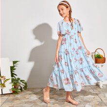 Chiffon Kleid mit Rueschenbesatz und mehrschichtigem Rffungsaum