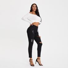 Curvy High Rise Ripped Skinny Jeans