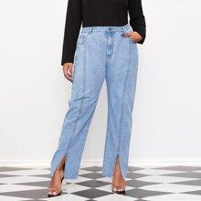 Jeans mit Schlitz und Naht