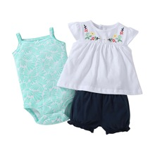 3pcs Baby Girl Embroidered Smock Top & Butterfly Print Bodysuit & Shorts
