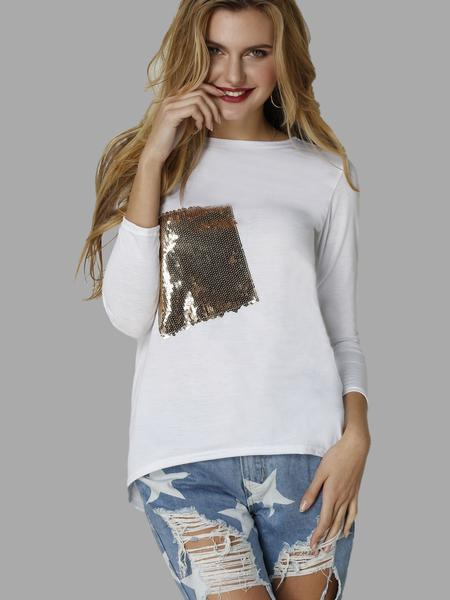 Yoins White Round Neck Causal Thin T-shirt with Sequins Embellished
