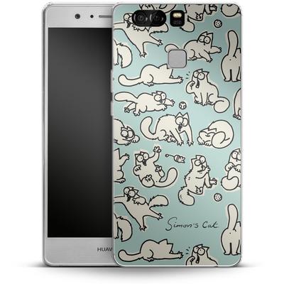 Huawei P9 Silikon Handyhuelle - Simon´s Cat Green Pattern von Simons Cat