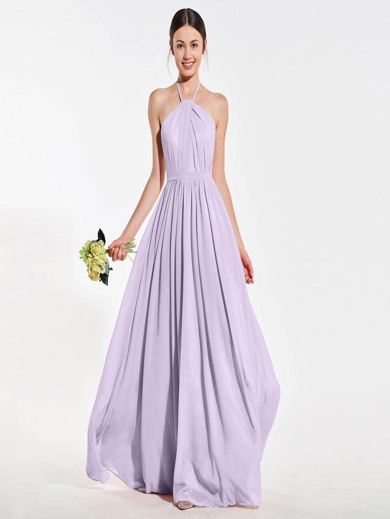 Ericdress A Line Halter Backless Long Bridesmaid Dress