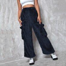 Solid Flap Pocket Flannel Pants