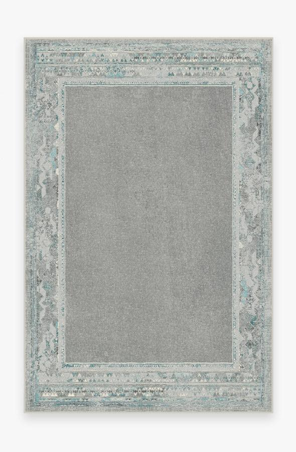 Washable Rug Cover & Pad | Lunja Border Teal Blue Rug | Stain-Resistant | Ruggable | 6x9