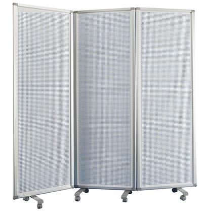 BM205795 Accordion Style Metal 3 Panel Room Divider with Perforated Details