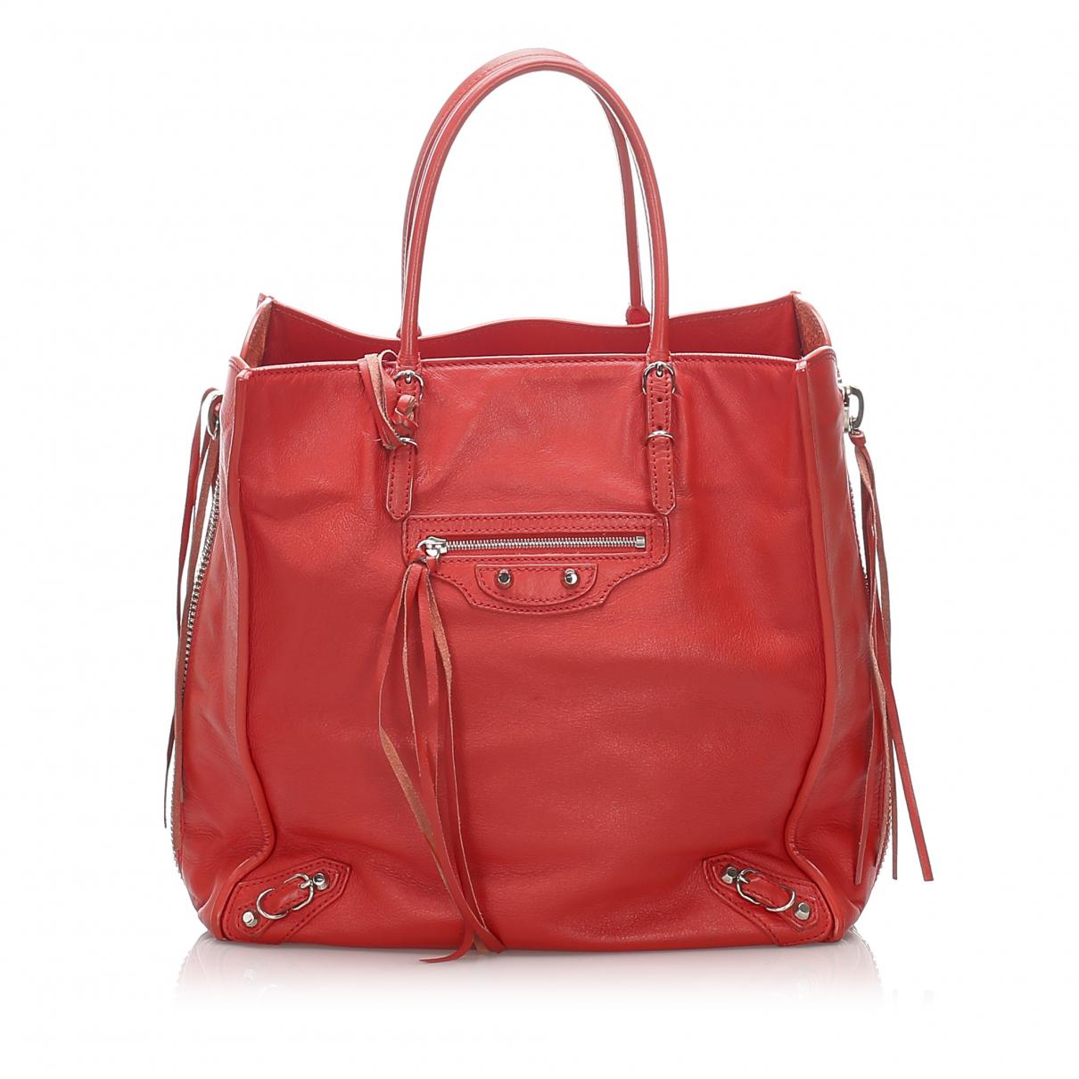 Balenciaga Papier Red Leather handbag for Women N