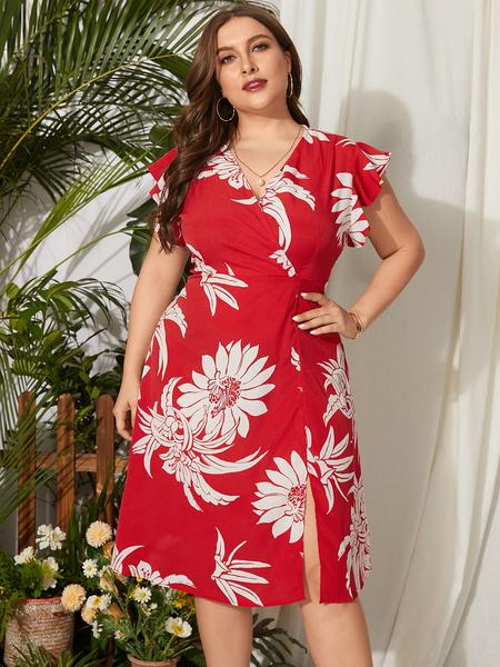 Yoins Plus Size V-neck Floral Print Wrap Design Short Sleeves Midi Dress