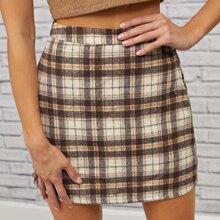Falda de cuadros con cremallera lateral